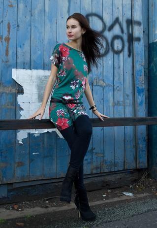 Winter Flower Print Tunic Dress