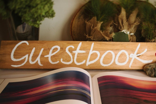 Coffee table guest book