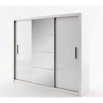 Fabulous Schwebet renschrank Kleiderschrank ID IDEA Garderobe Schrank mit Spiegel wei matt