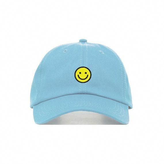 Smiley Face Baseball Hat Embroidered Dad Cap Happy Emoji Etsy Baseball Hats Baseball Cap Cap