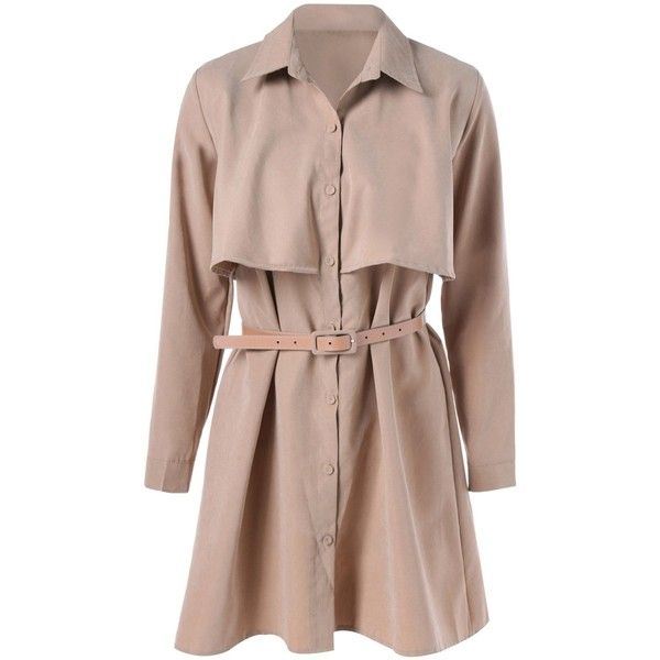 Belted Splicing Trench Coat (34 BAM) ❤ liked on Polyvore featuring outerwear, coats, brown trench coat, brown coat, belted coat, belted trench coat and trench coats