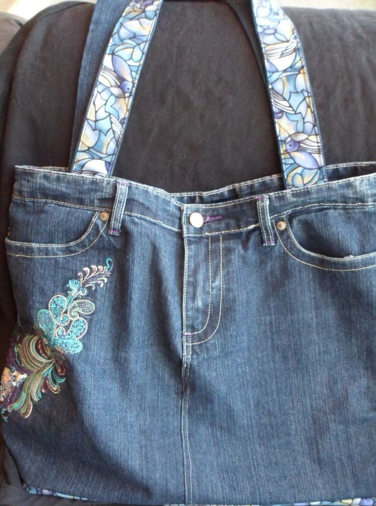 Repurposed embroidered denim jeans into large tote by LoveandReloved on Etsy