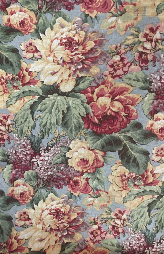 Vintage Floral Garden Jaqueline Smith Fabric Upholstery