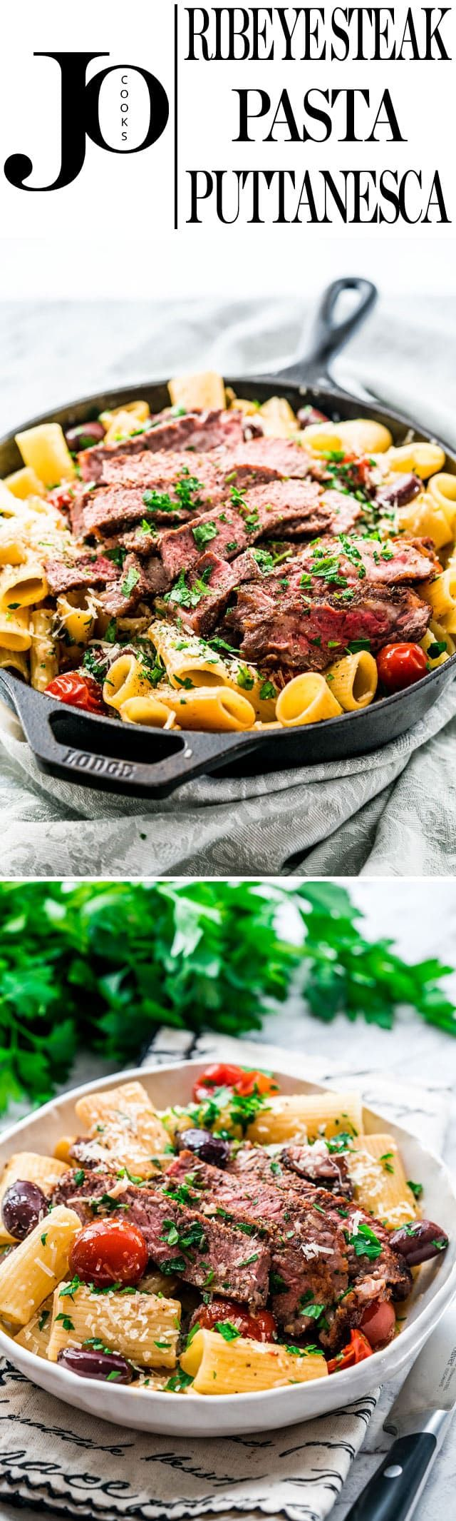 This Ribeye Steak Pasta Puttanesca is perfect for the meat eater in your life and simple enough for a fabulous weeknight meal. A classic and simple pasta dish with cherry tomatoes, olives and capers and a perfectly pan fried ribeye steak.