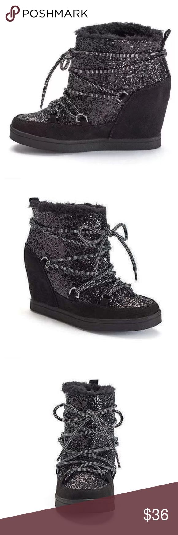 Juicy Couture Mareen Sport Boot Glitter lace up wedges from Juicy Couture. Faux fur lining. Cushioned padded insole. Juicy Couture Shoes