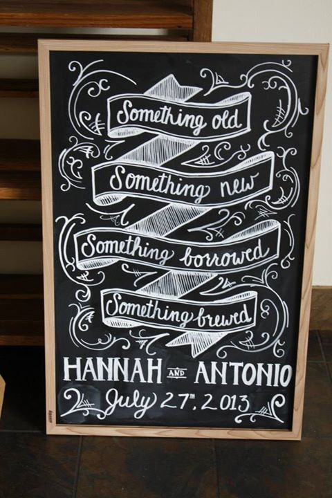 Coolest sign ever for a wedding at a brewery by Chef Brittanny Anderson of Metzger bar & Butchery and Brenner Pass Richmond Va