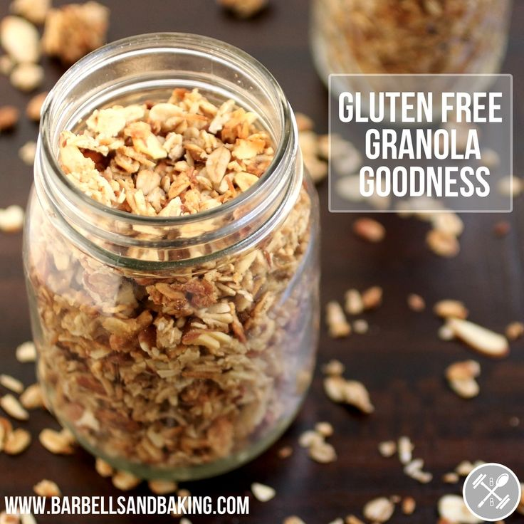 The BEST gluten free granola you will ever try! Sprinkle some of this on greek yogurt in the morning for a delicious breakfast or eat it as snack! So delicious! | www.barbellsandbaking.com