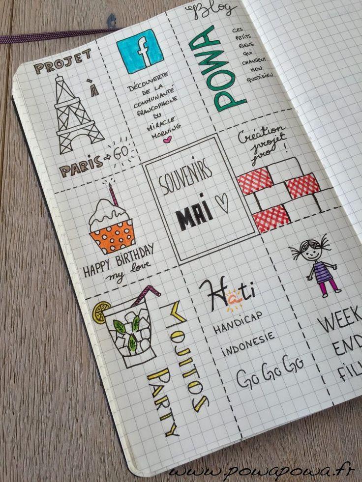 La page souvenir du bullet journal permet de faire ressortir les événements positifs du mois qui vient de passer et de les mettres en mots ou en images.