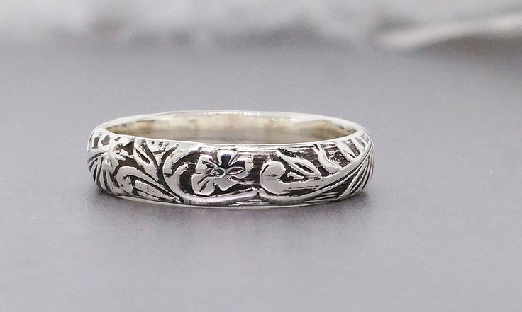 Thick sterling silver floral textured stacking ring, antique look ring for men and women - pinned by pin4etsy.com