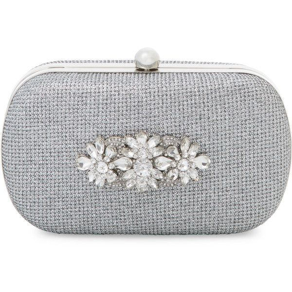 Badgley Mischka Women's Embellished Metallic Clutch - Silver (9.870 RUB) ❤ liked on Polyvore featuring bags, handbags, clutches, silver, chain-strap handbags, silver metallic purse, strap purse, silver handbags and clasp handbag