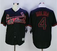 St. Louis Cardinals #4 Yadier Molina Black New Cool Base Fashion Stitched MLB Jersey