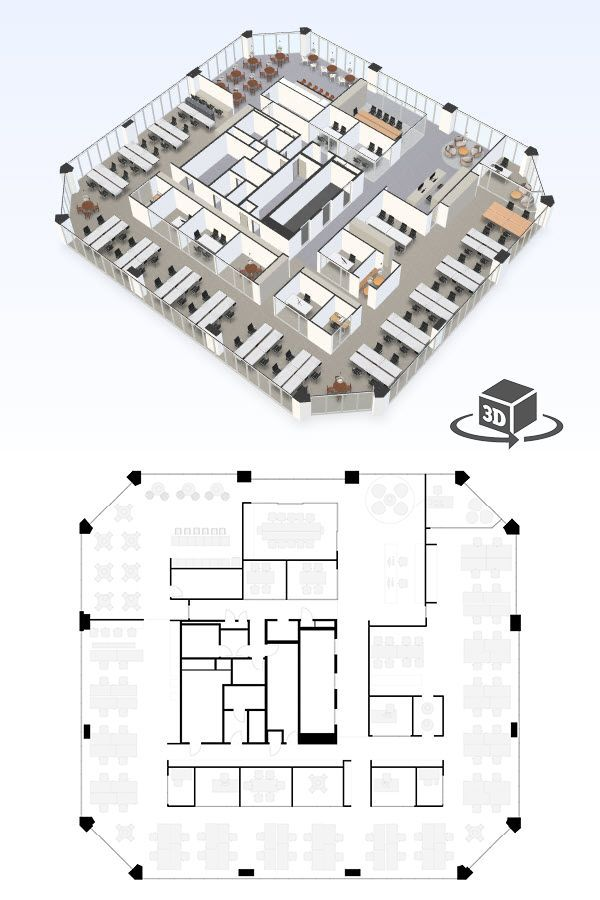 Large Office Floor Plan In Interactive 3d Get Your Own 3d Model Today At Http Planto3d Com