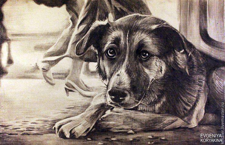 """Купить """"В ожидании чуда"""" - бежевый, собака, дворняга, дворняжка, ожидание, грусть, одиночество, бумага"""