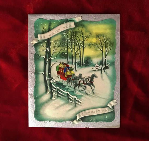 1940's Christmas Victorian stagecoach and horses in snow greeting card. Available at Yellow Dog Antiques on Etsy.