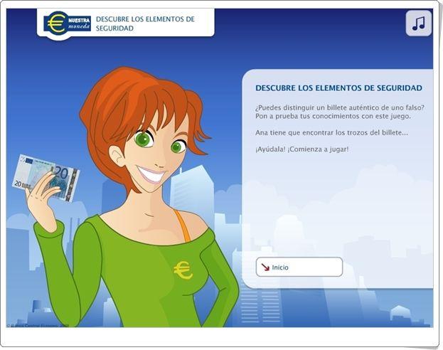 """""""El euro. Descubre los elementos de seguridad"""" es un pequeño juego del Banco Central Europeo a través del cual se aprenderá más sobre cómo poder asegurarse de que los billetes del euro son auténticos."""