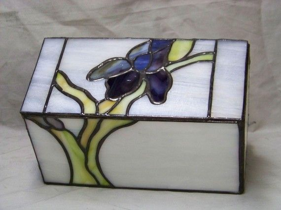 Cremation Urn  Stained Glass Iris by phoenixurn on Etsy