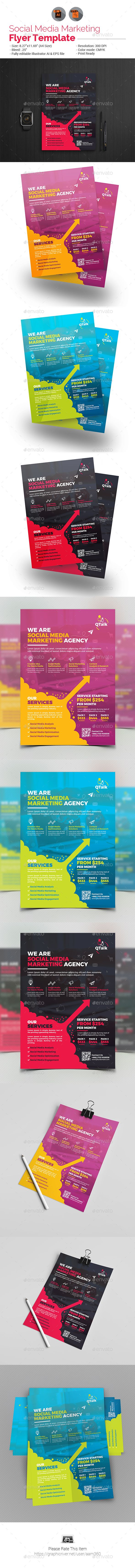 Social Media Marketing #Flyer V2 - #Corporate Flyers Download here: https://graphicriver.net/item/social-media-marketing-flyer-v2/19598085?ref=alena994