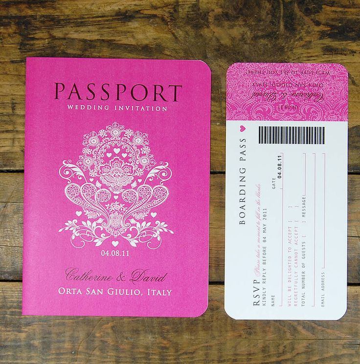 Ditsy Chic passport style wedding invitations and