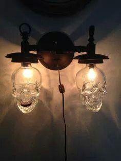 Lights using empty crystal skull vodka bottles