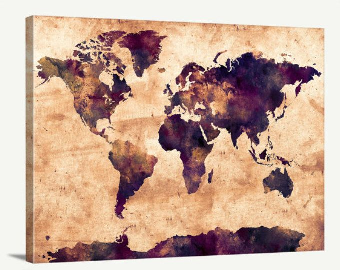 26 best Watercolor World Map Canvas images on Pinterest | World map ...