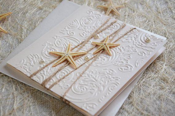 Starfish Wedding Invitations Beach Invitation by PaperStudioByC