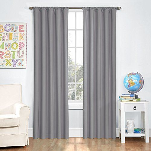 Eclipse Kids Microfiber Blackout Window Curtain Panel 42 By 63 Inch Gray