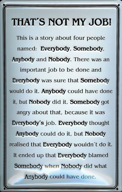 Story of Everybody, Somebody, Anybody and Nobody ~ Best ...