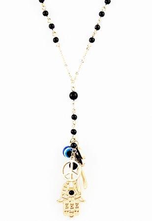Bead Hand Evil Eye Peace Multielement Antique Necklace