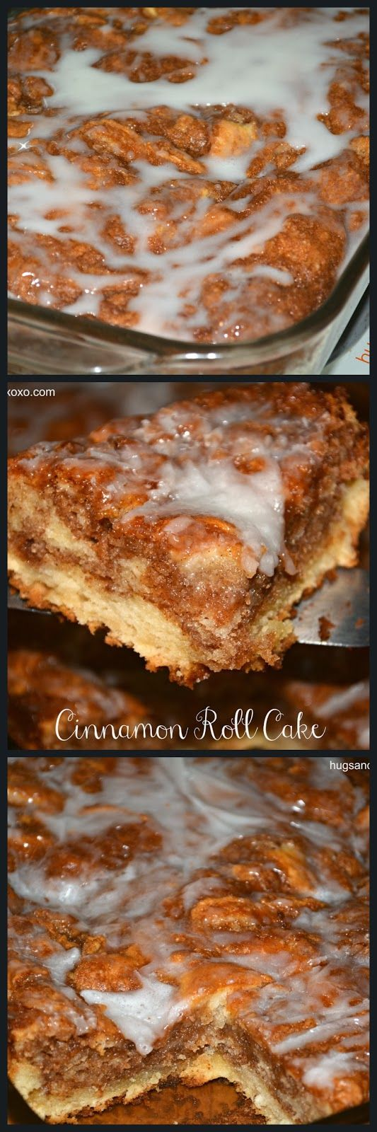 easy!! CINNAMON ROLL CAKE  - mix 1 box yellow cake mix,  2 eggs, 1 stick melted butter. Pour in greased 13x9 pan, then for TOPPING  1 C butter soft, 1 C brown sugar, 2 T. flour, 1 T. cinnamon. pour over batter, and swirl with butter knife.   GLAZE  2 cups powdered sugar 5 Tbsp. milk 1 tsp. vanilla. 350 for 20-25  min