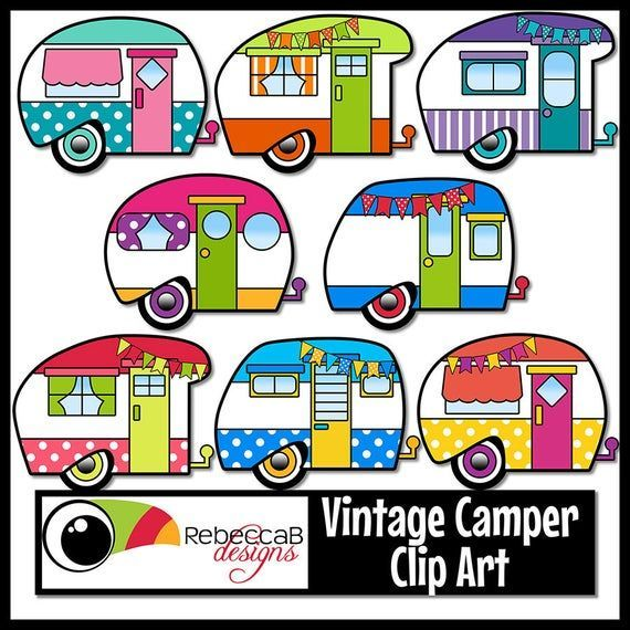 This Set Of Vintage Camper Clip Art Contains 36 Images 30 Colored Plus 6 Black And White Images Are Approx 4 5 Inch Clip Art Vintage Vintage Camper Clip Art