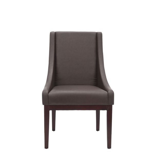 Safavieh Sloping Arm Brown Leather Chair