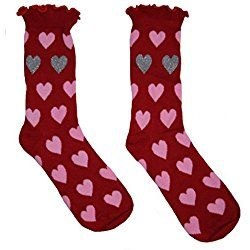 Valentine's Day Womens' Pink Hearts Crew Socks Red/Pink/Silver Size 9-11
