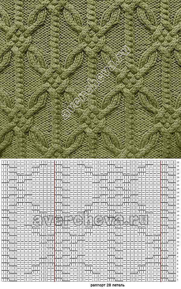 узор 214 сложные араны | каталог вязаных спицами узоров