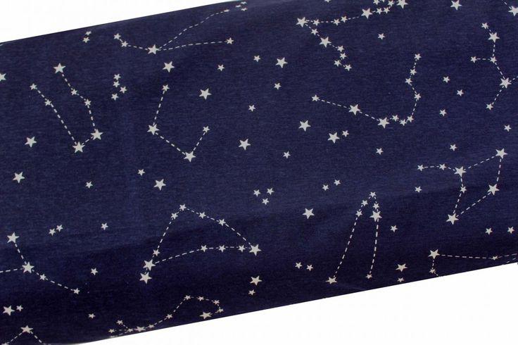 180**Jednolícní úplet tmavě modrý s hvězdným nebem-- jednolícní úplet potisk vyrobeno v EU