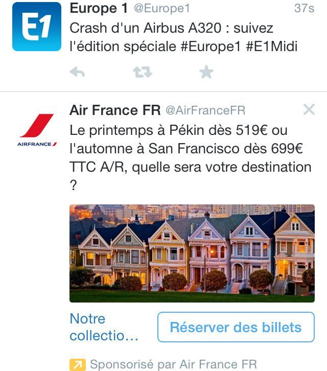 """Le bon placement pub d'Air France. #Germanwings"""