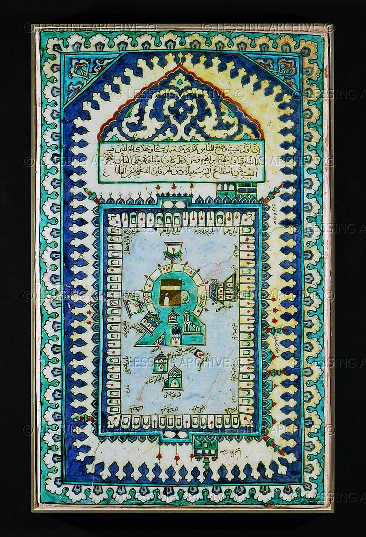 Large slab of ceramic tiles showing the pilgrims' way to the Kaaba in Mecca. From Iznik, Turkey, Ottoman period.