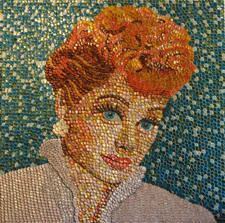 Lucille Ball in BOTTLE CAPS - by Molly B. Right