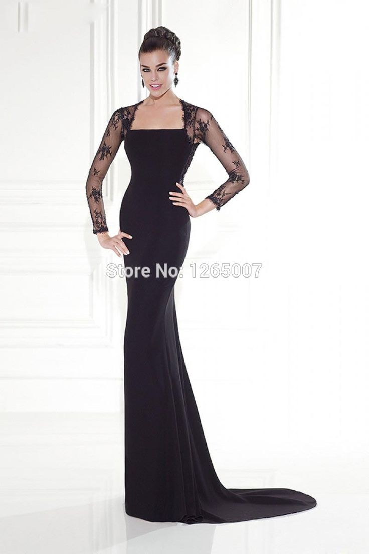 Fashion square neck bella fiocco pizzo buco della serratura posteriore elegant black mermaid maniche lunghe abiti da sera abiti convenzionali(China (Mainland))