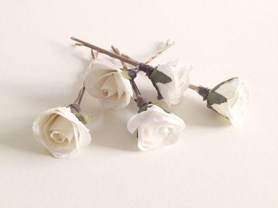 Bridal hair clips, Ivory Rose pins, Wedding flower pins, Cream rose bobby pins - set of five