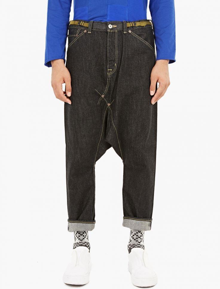 Ganryu,Black Selvedge Drop-Crotch Jeans,BLACK,0