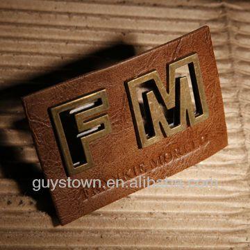 Custom Private Brand Name Logo Metal Hardware Label Denim Leather Tag Photo…