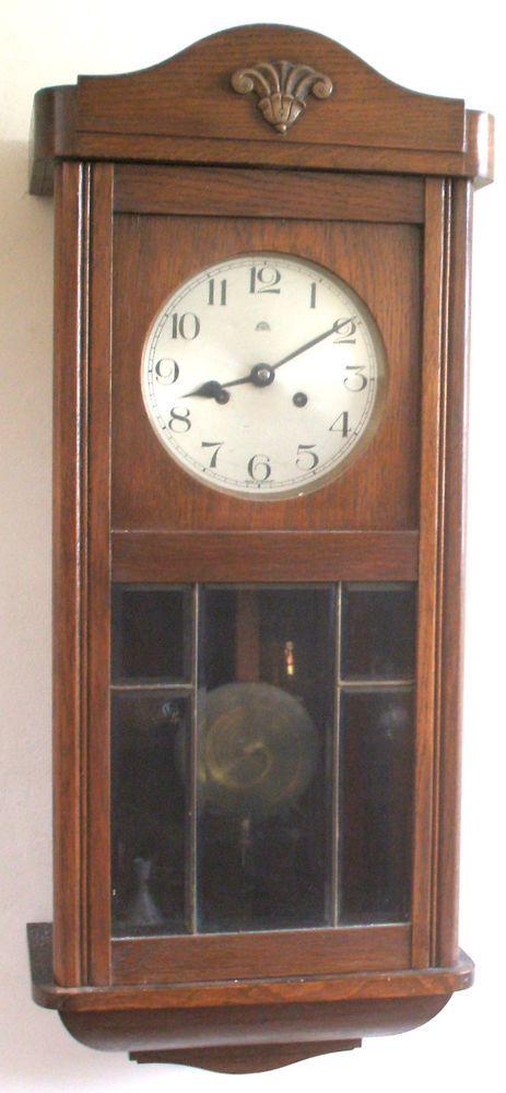 Haller A.G. German Glazed & Mahogany Case Striking Wall Clock 31 H 13 W 7 D GWO