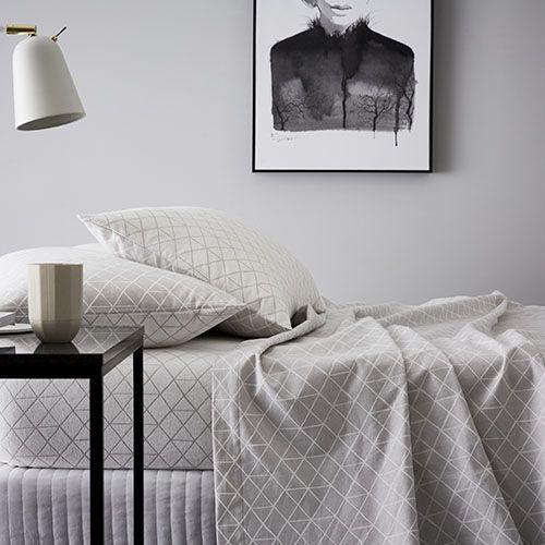 Hex Flannelette Sheet Set Grey