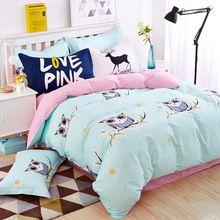 Búho azul niñas/niños ropa de cama de conjunto de colores brillantes peces caballo coche de la música ropa de cama niños funda nórdica twin completa queen king size(China (Mainland))