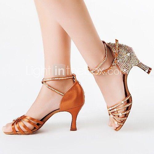 De Latijnse vrouwen sandalen uitlopende hak satijn met strass dansschoenen - EUR €38.01