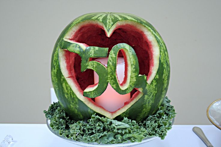 My dad carved this watermelon silhouette for my in-laws 50th Wedding Anniversary
