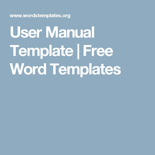 User Manual Template Free Word Templates
