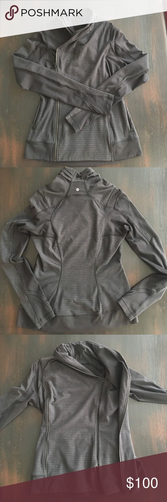 Lululemon Sweat Jacket BARELY WORN Lululemon charcoal/black stripe sweat jacket with two zippers, inside left and outside right. Size 10.  Mint condition, no rips, no tears, no stains, no discoloration. Can wear zipped like a double breasted coat or unzipped draped open. Non smoking house. lululemon athletica Jackets & Coats