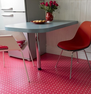 Spot Red  - A beautifully warm design, ideal for a kitchen, bedroom or bathroom floor.  Or why not choose to brighten up a utility room!