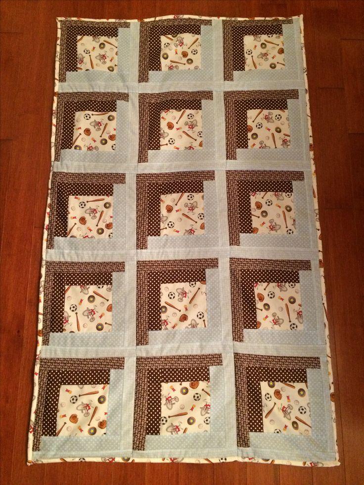 Log cabin baby boy quilt  - Berstein bear sports fabric  Colten (Patty's grandson)